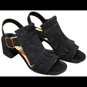 Prada fringe block heel sandals